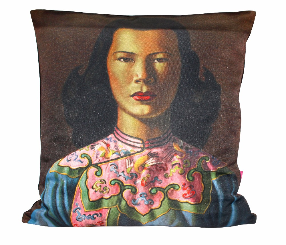 Tretchikoff Chinese Girl Blue Jacket Cushion Cover