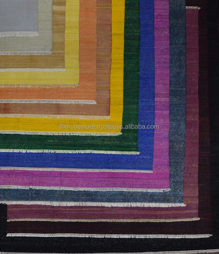 Different Shades Indigo Blue Orange Yellow Magenta Red Black Chindi Handmade Silk Rajasthan Dhurrie Dhurries kilim Rug