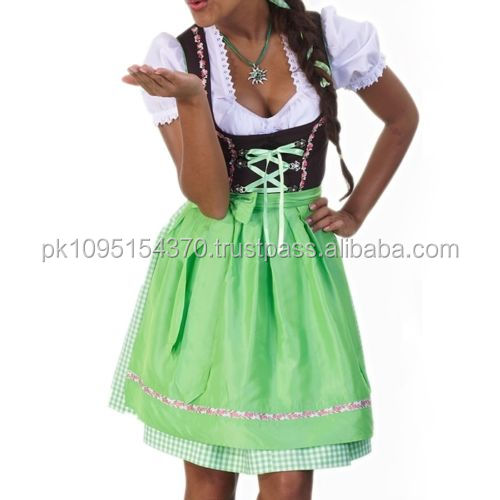 Lowest Price Trachten German Black Drindl Dress with Green Apron