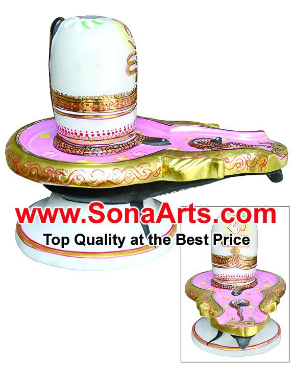 Marble Shivling Statue with painting / Marble Shiva Lingam with hand painting