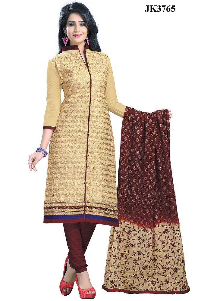 Ladies Wear Beige And Coffee Color Un Stitched Cotton Churidar Salwar Kameez
