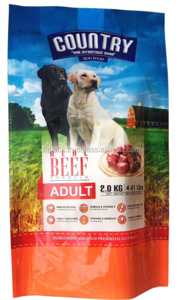 4 side seal dog food packaging bag,4 side sealing plastic bag for pet food,colourful printing pet food packaging bag