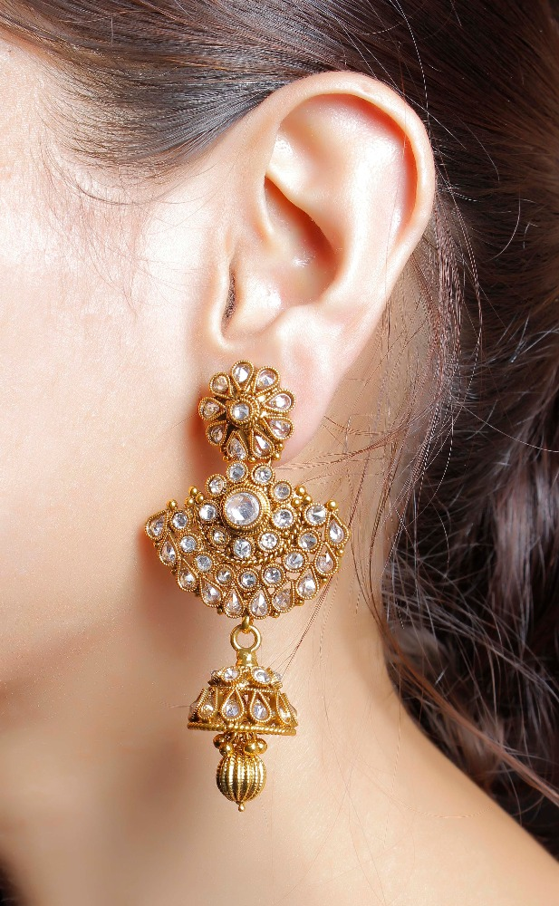 Indian Traditional Gold Tone Crystal Earrings Jhumka