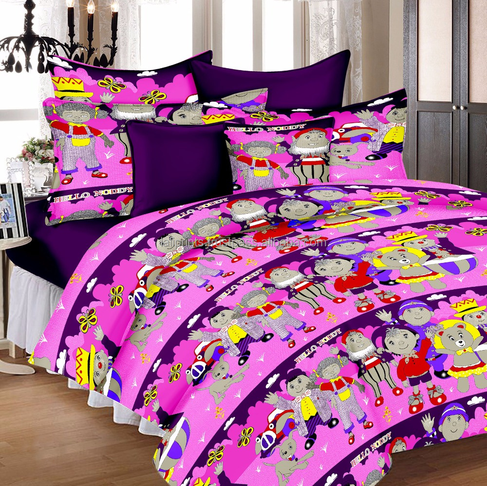 Lali Prints Colorful Noddy Cartoon 100% Cotton Deep Pocket 1 Flat Bedsheet, 1 Fitted Bedsheet, 2 Pillow Cover Bed Sheet Set Of 4