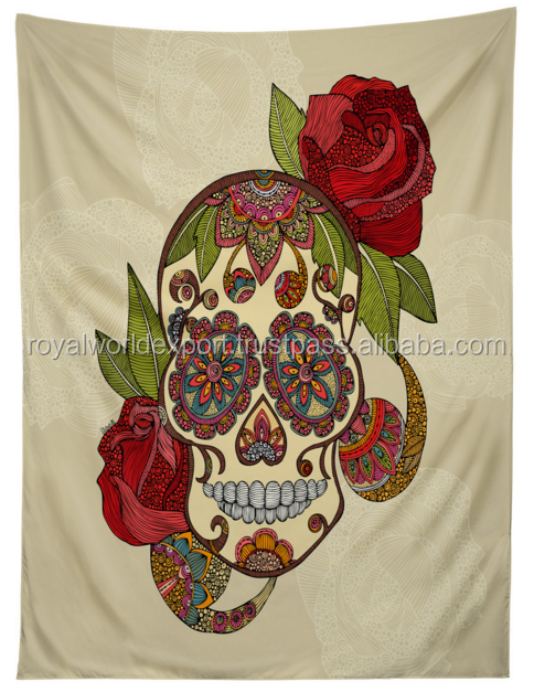 100 %cotton screen prin and desital print sugar skull canvas art handmade tapestry well hanging