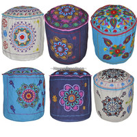 Bohemian Patch Work Pouf Ottoman Round Patchwork Embroidered Multi Ottoman Pouf