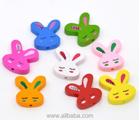 At Random Cute Rabbit /Bunny Wood Beads 20x20mm, sold per packet of 50