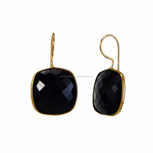 Black Onyx 14mm Cushion Shape Gemstone Earrings - Gold Plated Over Sterling Silver Gemstone Drop Earring