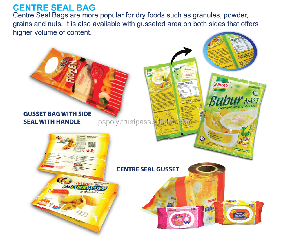 Centre seal bag for food packaging