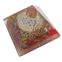 Mix Onyx Chakra Healing Orgone Pyramids Wholesale with Flower of Life Symbol