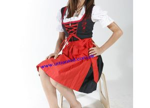 3-Pcs Cotton/Polyester Black/Red Color German Women/Ladies High Quality Dirndls