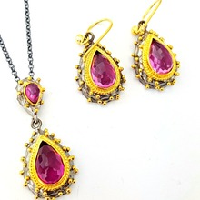 Wholesale Ruby Stone Gold Plated Turkish Jewelry925 Sterling Silver Handmade Set