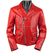Zipper Red Leather Motorcycle Jacket