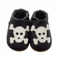 Baby Skull Soft Sole Black & White Leather Shoes