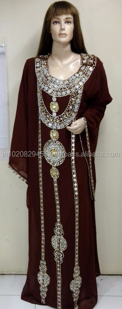 Brown Arabic Beautiful Georgette Kaftans For Women With Full Hand Embroidery Coated With Silver Gold