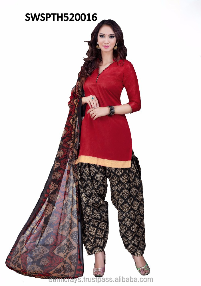Red coloroed straight cut style traditional wear salwar suits