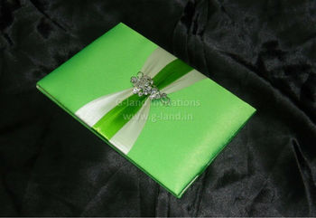bi-fold invitation card folio silk invitation with lace decorated ribbon and rhinestone