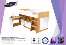 A-Tech - BD 8100 Wooden Children bunk bed with desk with bunk bed shelf