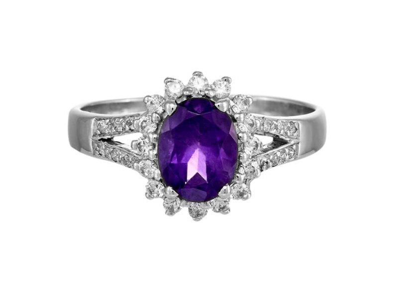 Amethyst 2.5CT 925 Silver Sterling 9K White Gold Rings Size 5-13 Diamond &Gems