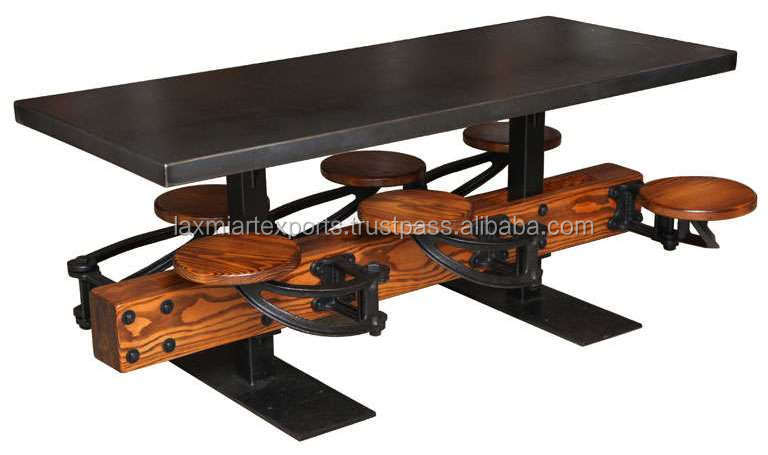 Industrial Dining Table Vintage Cafeteria Table With 6 Six Attached Swinging Stool Manufacturer Wholesale Supplier