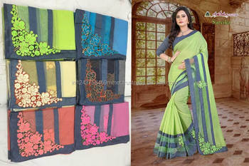 chandery cotton candy border attached embroidery green saree