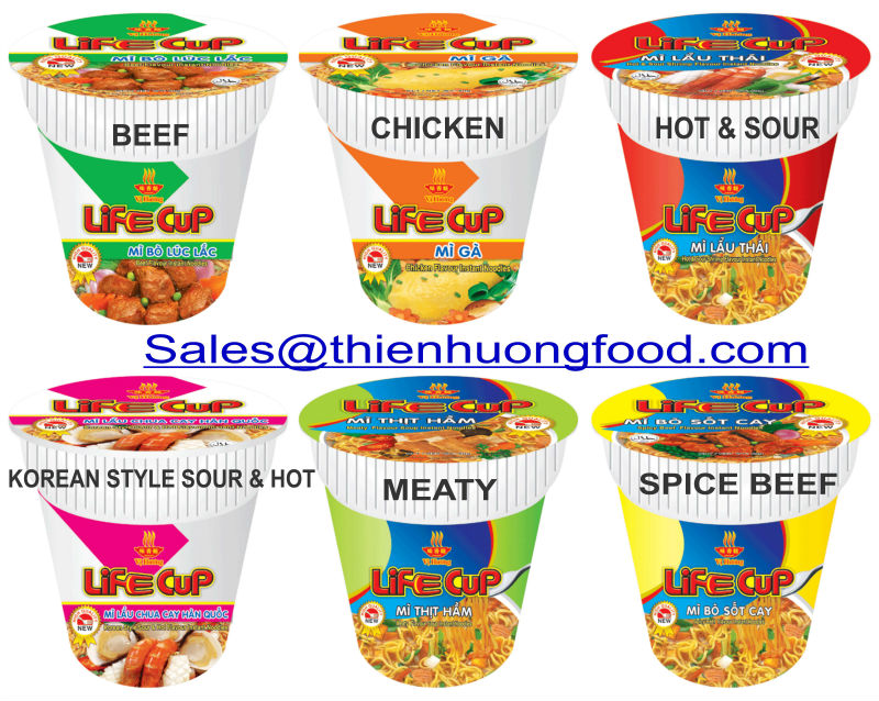 65 gram CUP INSTANT NOODLES CURRY, CHICKEN, TOM YUM FLAVOR , VI HUONG BRAND,