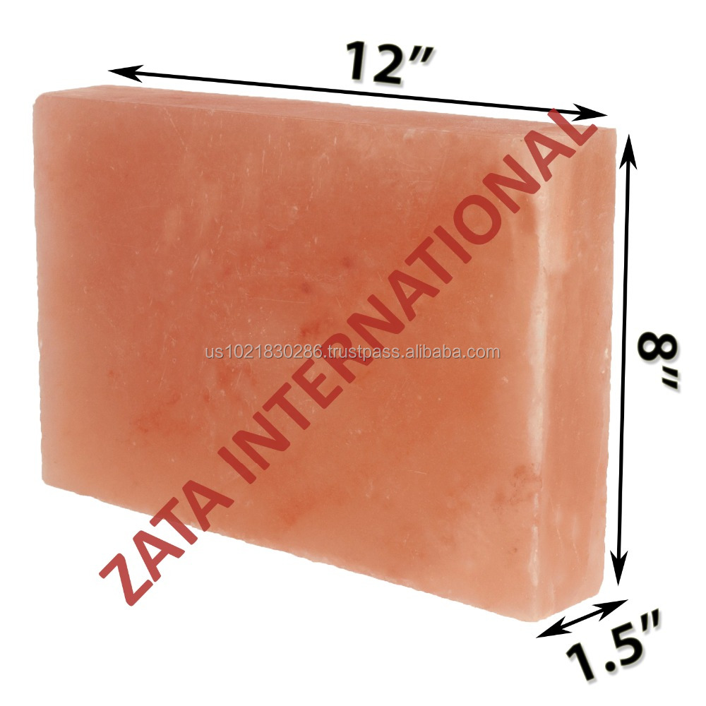 "Himalayan Natural Crystal Rock Salt Tiles Plates Slabs Size 12"" x 8"" x 1.5"" for BBQ Barbecue Cooking searing Serving Grilling"