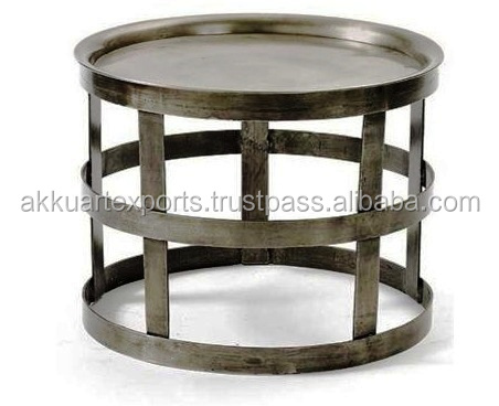 JODHPUR MADE INDUSTRIAL METAL ROUND COFFEE TABLE