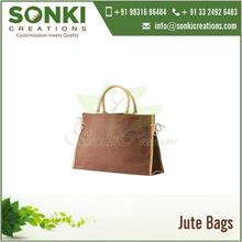 Designer Dual Color Jute Tote Bags and Cotton Stuffed Handles