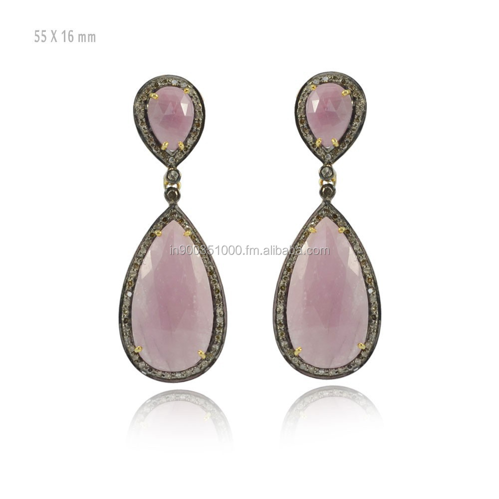 925 Sterling Silver Pave Diamond Yellow Gold Pink Sapphire Gemstone Drop Earrings Manufacturer Diamond Gemstone Jewelry Supplier