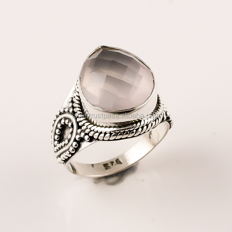 925 Sterling Silver Ring, Natural Faceted Rose Quartz Gemstone Jewelry, Silver Jewelry