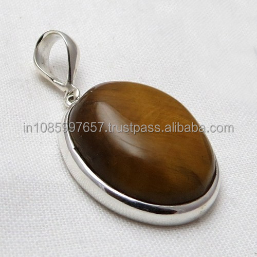 Delighting Tiger Eye 925 Sterling Silver Pendant, Gemstone Silver Pendant, Silver Jewelry India