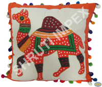 TRADITIONAL HAND EMBROIDERY APPLIQUE PATCH WORK HANDMADE CUSHION COVER WITH CAMEL PICTURE & POMPOM LACE GOOD FOR HOME DECOR SI44