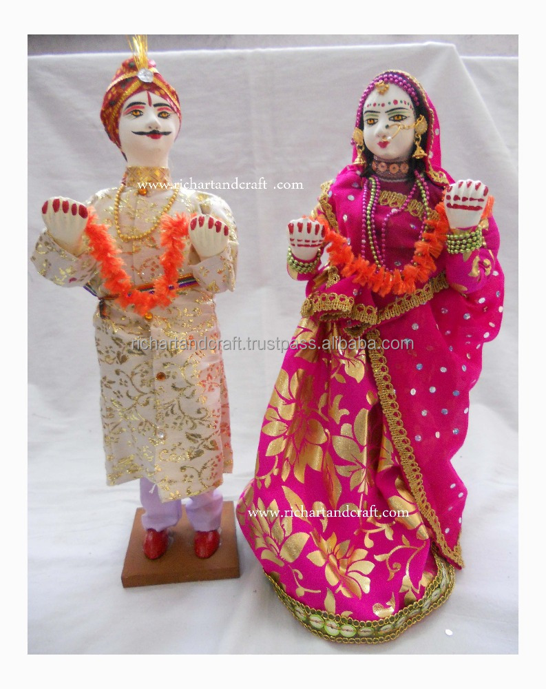 Wedding Gift Decor Toy Traditional Craft India Asia Unique Indian Handmade cloth Dolls