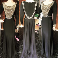 cheap glamorous long sleeve heavy beaded maxi dress