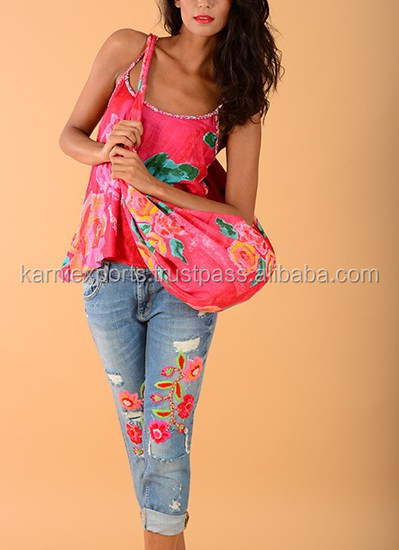 New cotton pink color girls fashionable top's / Short top's for ladies wear / Apparel & fashion wear top's & ladies garments