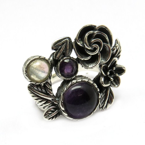 Shimmering AAA !! Amethyst_Rainbow Moonstone 925 Sterling Silver Rings, Gemstone Silver Jewelry, Wholesale Silver Jewelry
