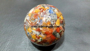 Mix Chakra Gemstone Orgone Ball : Wholesale Orgonite Ball : Orgone Spheres