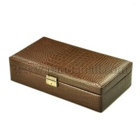 Imitation Leather Jewelry Boxes, with Velvet and Alloy Findings, Rectangle, Brown, 345x185x85mm LBOX-E007-1