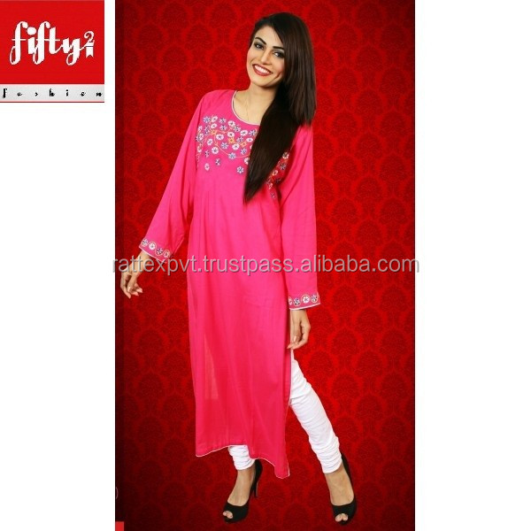 New Beautiful Pink Long Kurti For Grils