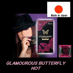 Japan female condom sex product 'GLAMOUROUS BUTTERFLY HOT' --- outside top jelly-coated --- 6p