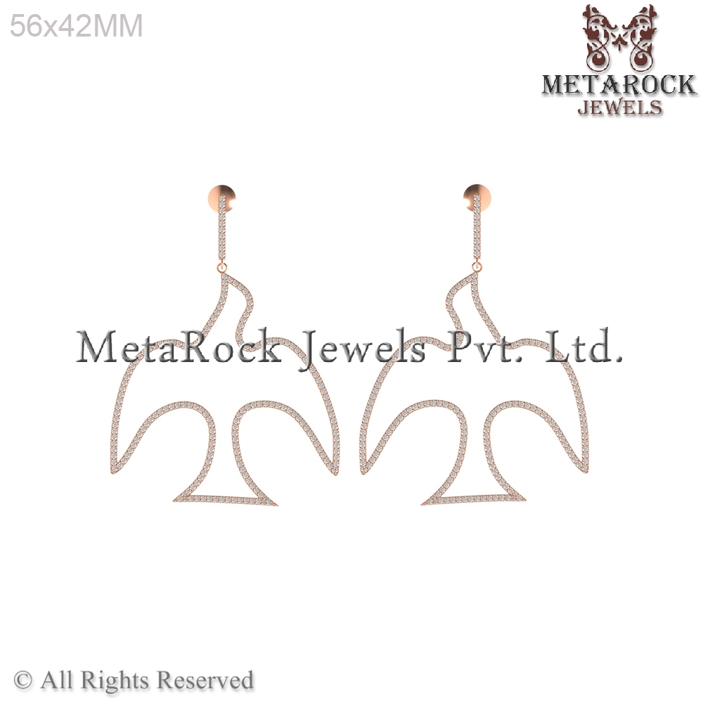 14k Rose Gold Diamond Pigeon Design Dangle Earring manufacture