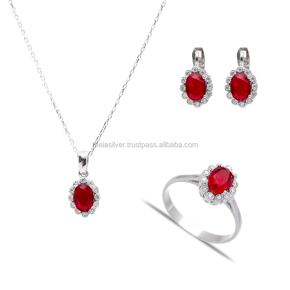 Turkish Ottoman Ruby Set, Wholesale Handcrafted 925 Silver Sterling Zircon Set