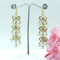 Wholesale Traditional Designer 3 Story Silver Crysta Lakh Earrings