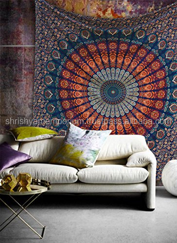 Manufacturer of Indian Tapestry Wall Hanging Double Bed Sheet Wholesale Indian Exporter Bohemian Angel Tapestries Wall Tapestry