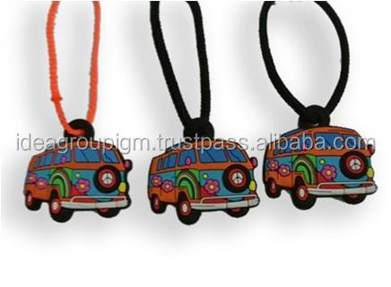 PVC Keyring Flower Power Car Shape