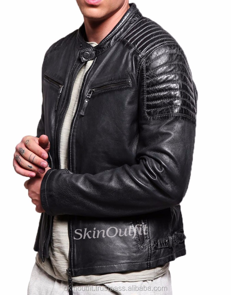 new arrival outdoor wear men jackets low price winter fashion black color bomber leather jacket