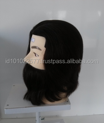 Human hair mannequin male with beard