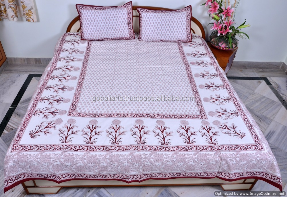 Floral Bed Sheet Bohemian Block Printed Ethnic Bedding With Pillow Covers Queen Size Bedspread