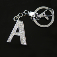 Diamante Letter A Keyring, Wholesale key chains fancy key rings